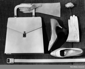 Collage with Handbag, Shoes from Löfsko, Gloves, Belts and A Rose, In Connection with Aili Pekonen's Fashion Design